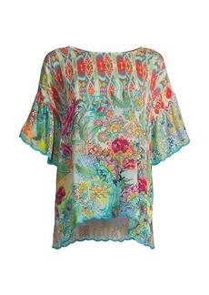 Johnny Was Belize Eloise Floral Collage Print Blouse