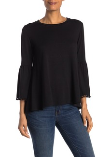 Johnny Was Bell Sleeve Pompom Trim Top