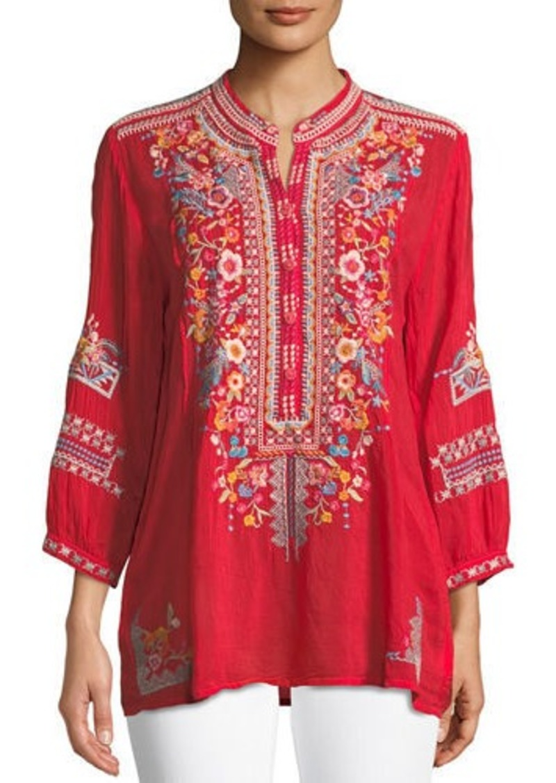 f6fa71945d2e Johnny Was Bethanie 3 4-Sleeve Embroidered Tunic Now  186.00