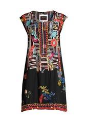 Johnny Was Biya Bracciana Embroidered Silk Shift Dress