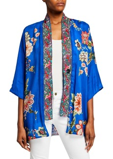 Johnny Was Bonian Floral Georgette Kimono w/ Embroidered Trim