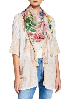 Johnny Was Botan Floral-Print Silk Georgette Scarf with Tassels