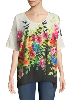 Johnny Was Botanica Cotton Viole Floral Poncho