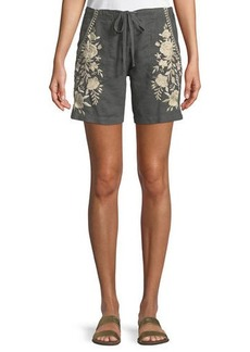 Johnny Was Briar Embroidered Linen Shorts