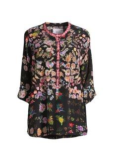 Johnny Was Brigitte Floral-Print Silk Blouse