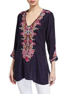 Johnny Was Briony V-Neck Embroidered Cupro Blouse