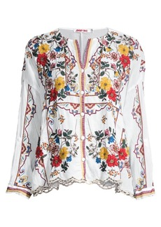 Johnny Was Cabo Embroidered Blouse