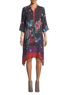 Johnny Was Caelen Mixed-Print Silk Dress w/ Slip