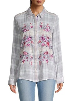 Johnny Was Caelynn Floral Embroidery Check Shirt