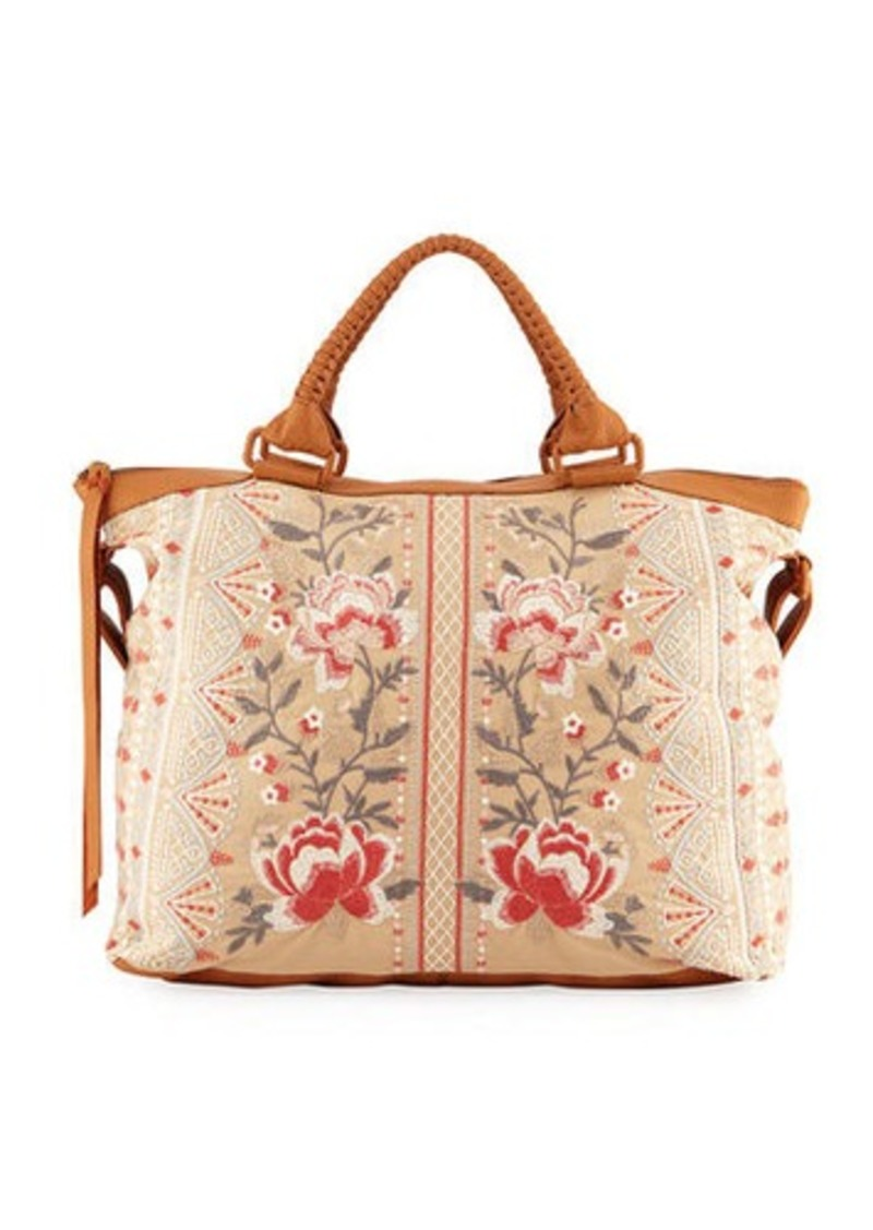 Johnny Was Calida Overnight Embroidered Canvas Tote Bag  0260685ec8c59