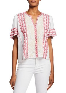 Johnny Was Camille Embroidered V-Neck Flutter-Sleeve Linen Blouse