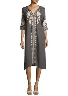 Johnny Was Carmelita Embroidered Linen Peasant Dress  Voltage
