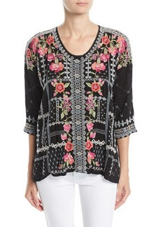 Johnny Was Petite Carnation Embroidered Georgette Blouse