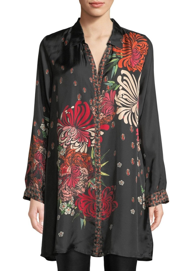 Johnny Was Carro Button-Front Floral-Print Tunic