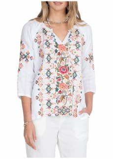 Johnny Was Chandra Linen Peasant Blouse
