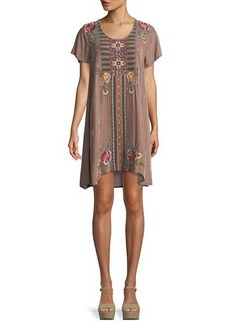 Johnny Was Cherelle Flutter-Sleeve Embroidered Velvet Tunic Dress