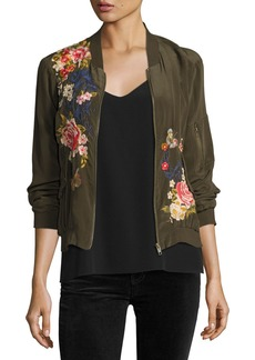 Johnny Was Lucy Crepe de Chine Bomber Jacket