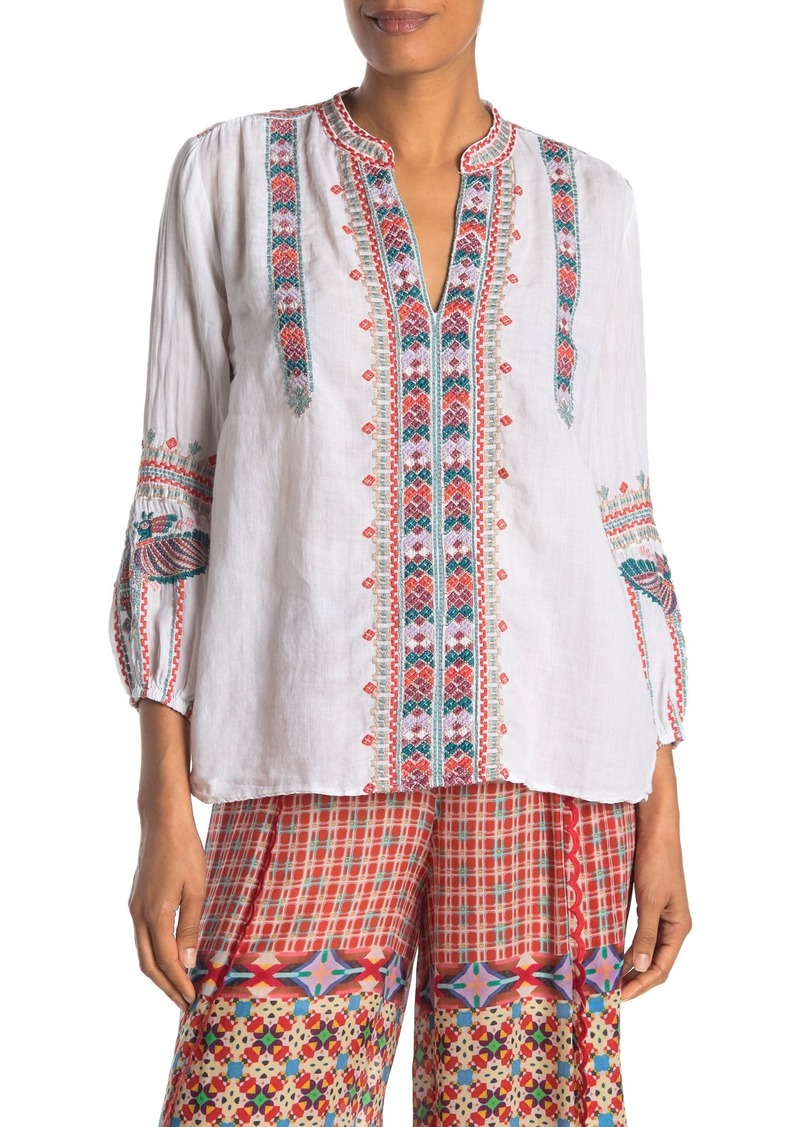 Johnny Was Claudine Paris Embroidered Peasant Top