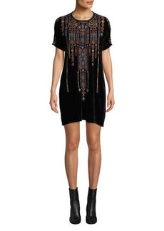 Johnny Was Cleo Velvet Embroidered Shift Tunic Dress
