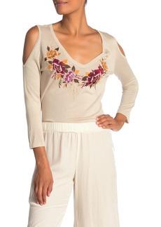 Johnny Was Cold Shoulder Floral Embroidered Silk Blend Sweater