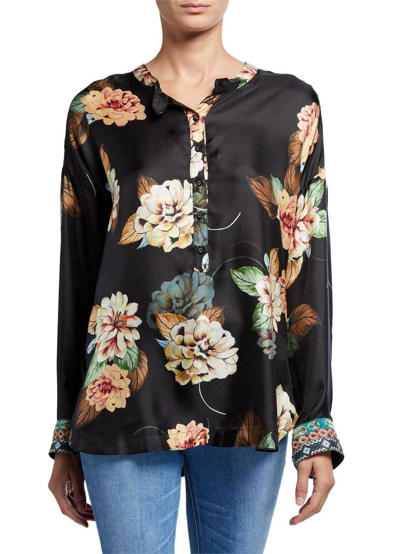 Johnny Was Corey Floral Print Long-Sleeve Silk Boxy Top