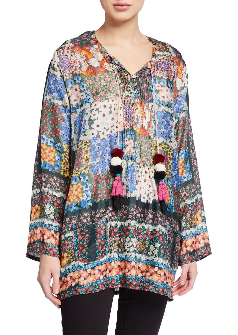 Johnny Was Daisy Floral Long-Sleeve Top with Pompom Tassels