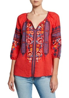 Johnny Was Dani Embroidered Split-Neck 3/4-Sleeve Linen Peasant Blouse