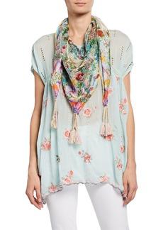 Johnny Was Daria Floral-Print Silk Georgette Scarf with Tassels