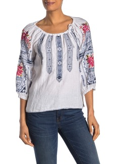Johnny Was Davis Embroidered Linen Peasant Top