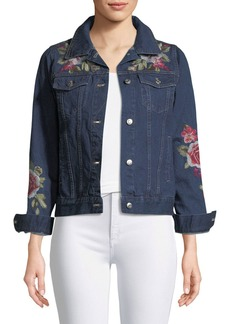 Johnny Was Desi Floral-Embroidered Denim Jacket