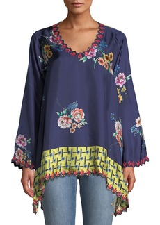 Johnny Was Dinah Silk Twill Floral-Print Long-Sleeve Blouse w/ Embroidered Trim
