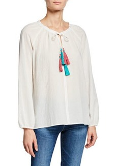 Johnny Was Double-Tassel Long-Sleeve Cotton Peasant Blouse