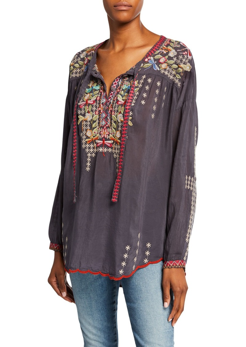 Johnny Was Dragonfly Embroidered Long-Sleeve Georgette Blouse with Ties