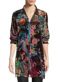 Johnny Was Dream Floral-Print Velvet Easy Tunic