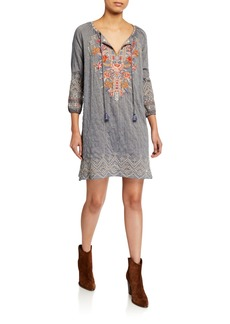 Johnny Was Ellington Embroidered Peasant Dress with Slip