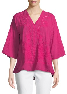 Johnny Was Embroidered 3/4 Sleeve V-Neck Blouse
