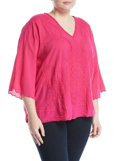 Johnny Was Embroidered 3/4-Sleeve V-Neck Blouse