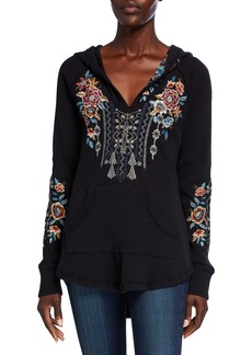 Johnny Was Embroidered Cotton Thermal Sweatshirt  Black