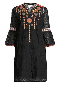 Johnny Was Embroidered Eyelet Mini Dress