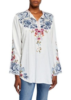 Johnny Was Esta Long-Sleeve Embroidered Satin Blouse