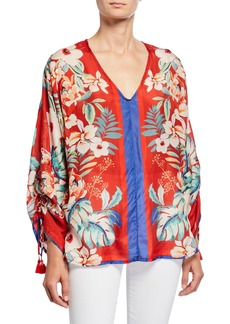 Johnny Was Evy Floral V-Neck Long-Sleeve Silk Georgette Blouse