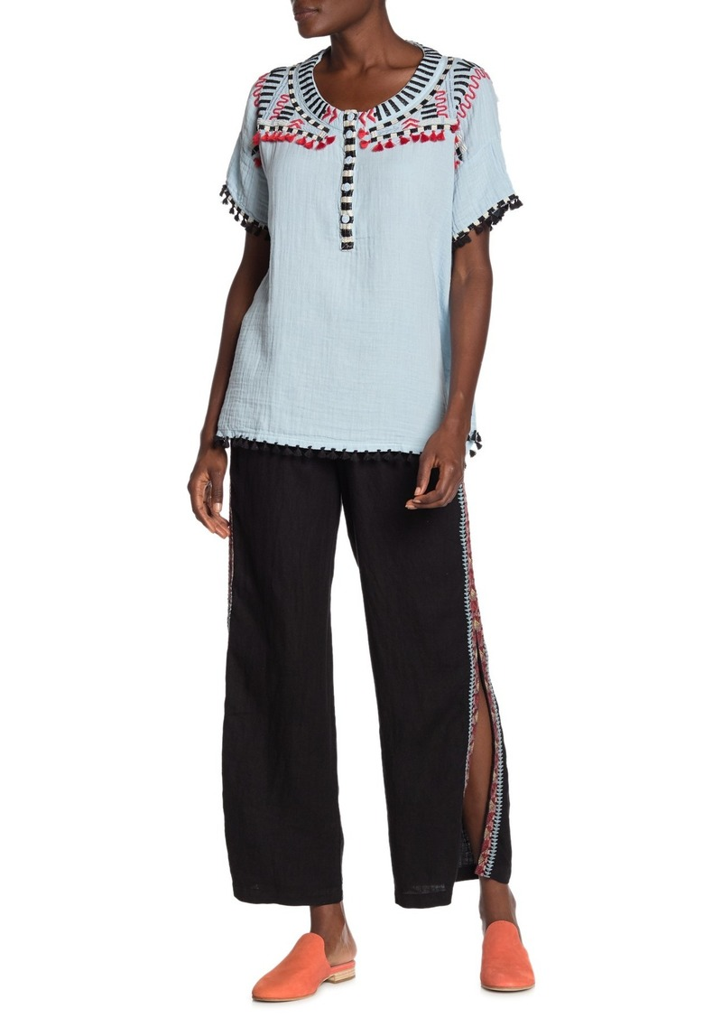 Johnny Was Ezra Embroidered Palazzo Pants