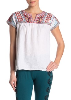 Johnny Was Ezra Embroidered Yoke Linen Blouse