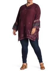 Johnny Was Fayan Patchwork Sleeve Floral Embroidered Tunic (Plus Size)