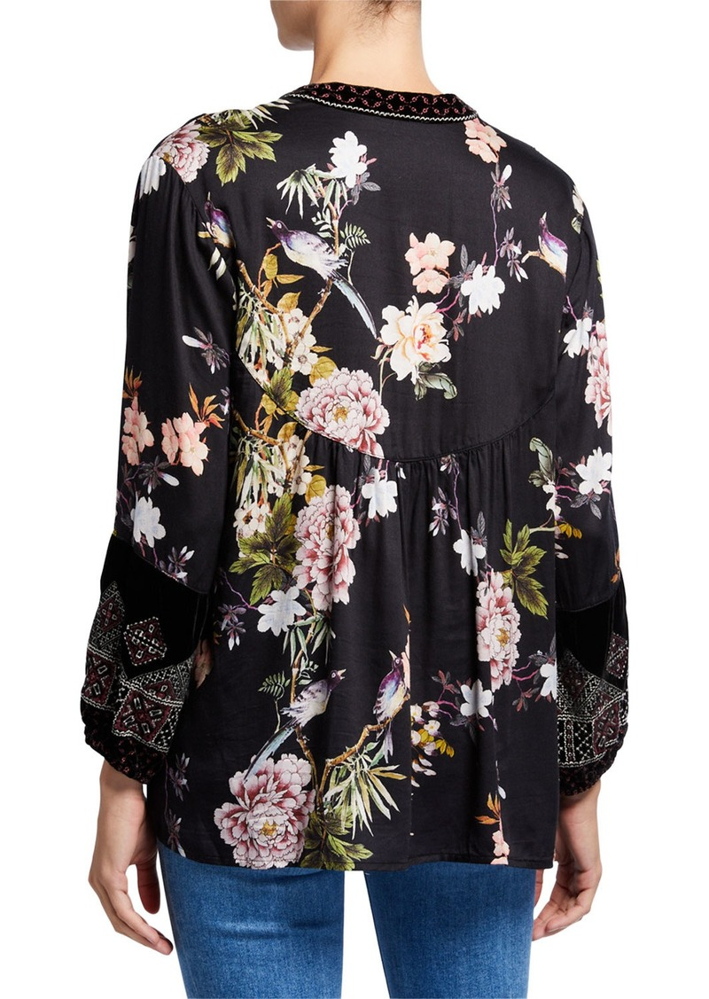 Johnny Was Floral Long-Sleeve Velvet Trim Mix Paris Effortless Blouse