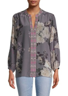 Johnny Was Floral-Print Silk Blouse