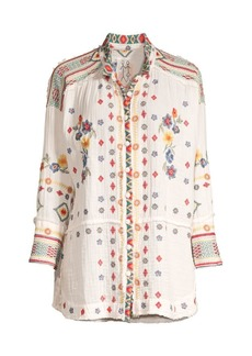 Johnny Was Florence Gauze Floral-Embroidered Blouse