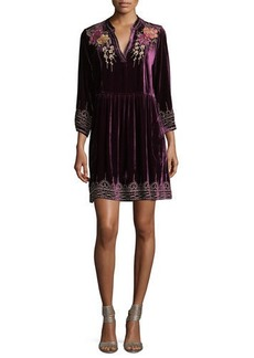 Johnny Was Flores 3/4-Sleeve Boho Velvet Dress w/ Floral Embroidery  Petite
