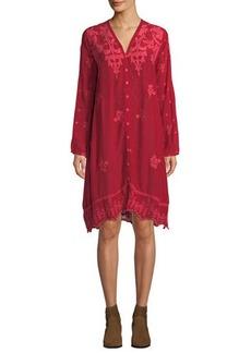 Johnny Was Frinna Waist-Tie Embroidered Dress