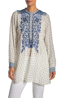 Johnny Was Galatia Embroidered Silk Tunic Top
